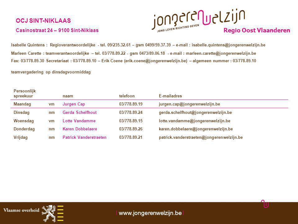 Persoonlijk spreekuur naamtelefoonE-mailadres MaandagvmJurgen Cap03/778.89.19jurgen.cap@jongerenwelzijn.be DinsdagnmGerda Schelfhout03/778.89.24gerda.