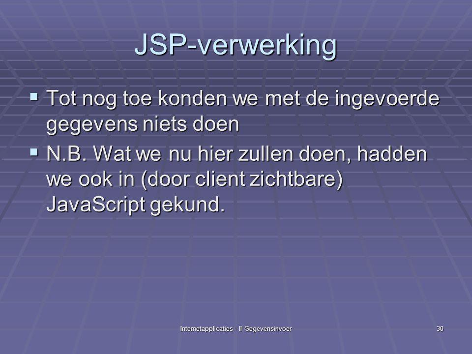 Internetapplicaties - II Gegevensinvoer30 JSP-verwerking  Tot nog toe konden we met de ingevoerde gegevens niets doen  N.B.