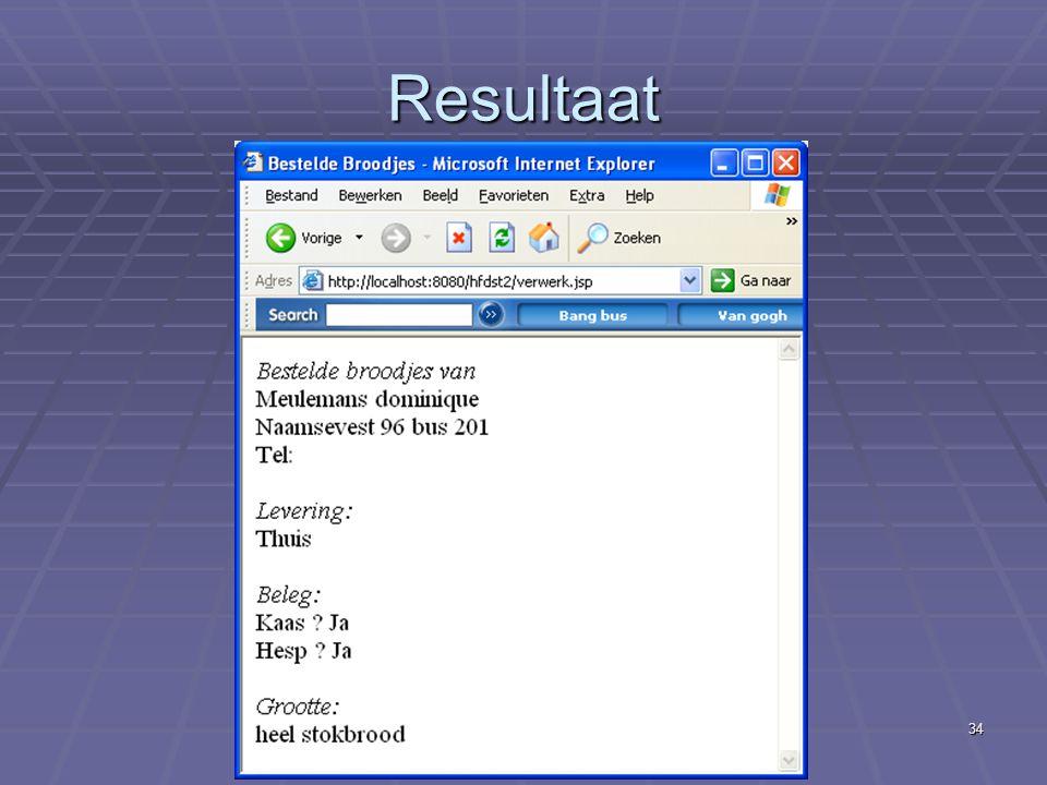 Internetapplicaties - II Gegevensinvoer34 Resultaat