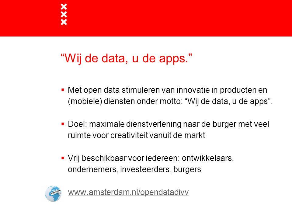 Wij de data, u de apps.  Met open data stimuleren van innovatie in producten en (mobiele) diensten onder motto: Wij de data, u de apps .
