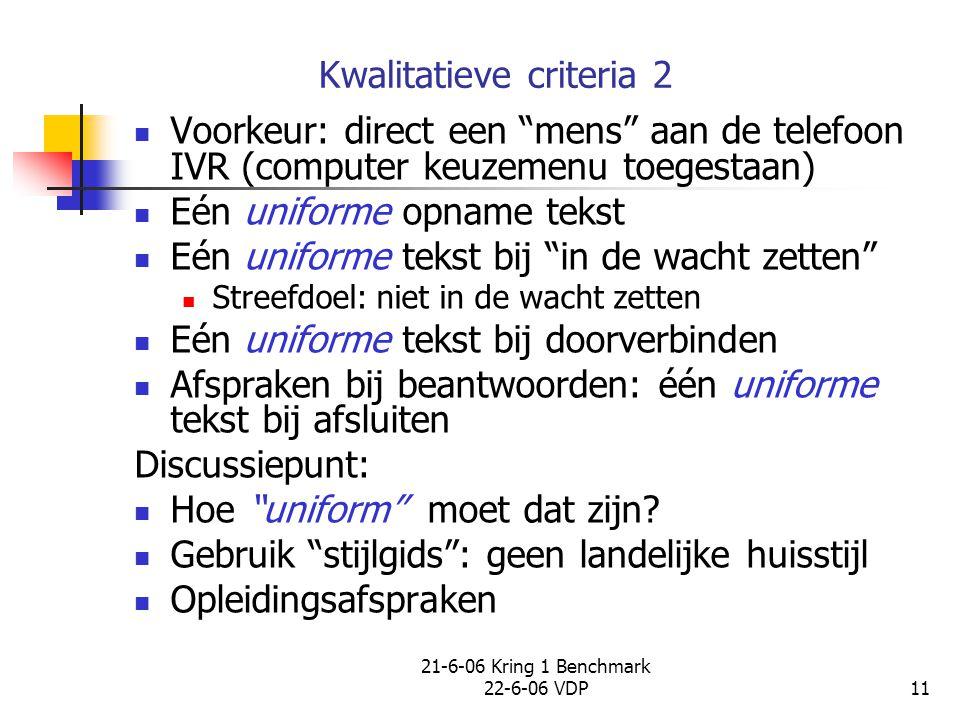 """21-6-06 Kring 1 Benchmark 22-6-06 VDP11 Kwalitatieve criteria 2 Voorkeur: direct een """"mens"""" aan de telefoon IVR (computer keuzemenu toegestaan) Eén un"""