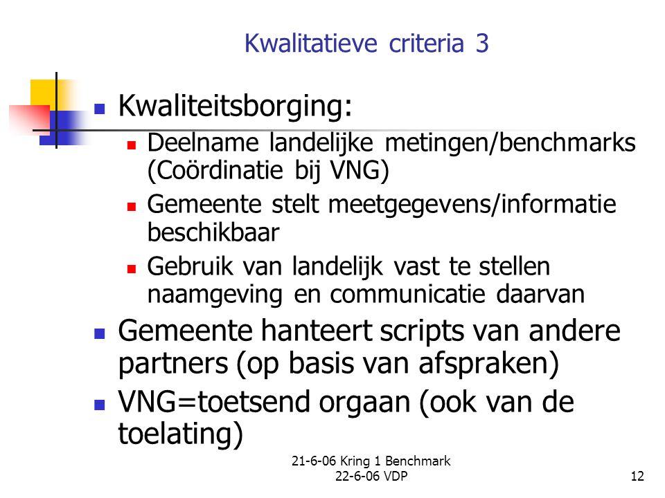 21-6-06 Kring 1 Benchmark 22-6-06 VDP12 Kwalitatieve criteria 3 Kwaliteitsborging: Deelname landelijke metingen/benchmarks (Coördinatie bij VNG) Gemee