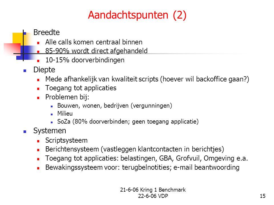 21-6-06 Kring 1 Benchmark 22-6-06 VDP15 Aandachtspunten (2) Breedte Alle calls komen centraal binnen 85-90% wordt direct afgehandeld 10-15% doorverbin