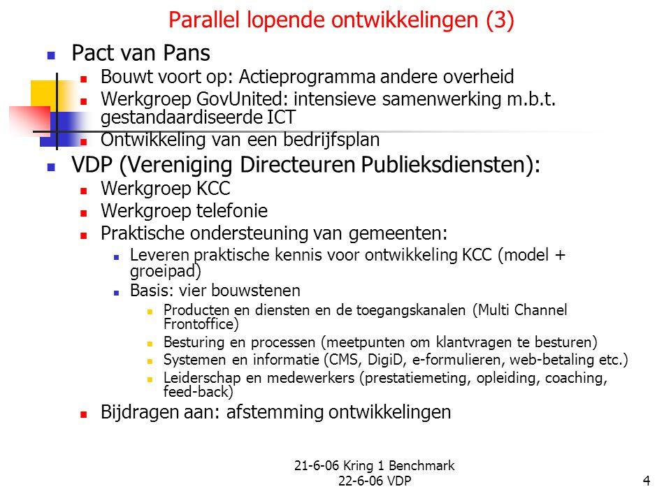 21-6-06 Kring 1 Benchmark 22-6-06 VDP4 Parallel lopende ontwikkelingen (3) Pact van Pans Bouwt voort op: Actieprogramma andere overheid Werkgroep GovU