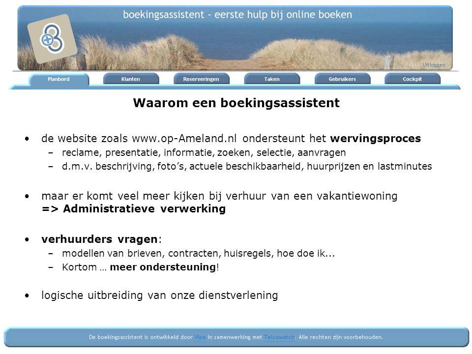 Waarom een boekingsassistent de website zoals www.op-Ameland.nl ondersteunt het wervingsproces –reclame, presentatie, informatie, zoeken, selectie, aa