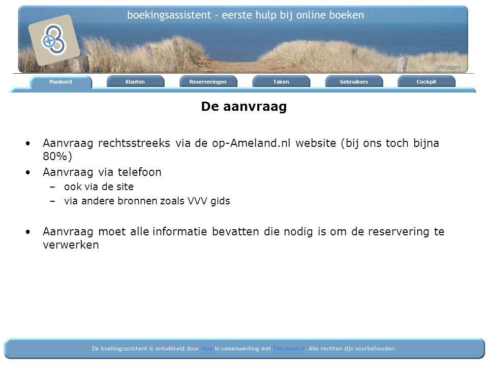 De aanvraag Aanvraag rechtsstreeks via de op-Ameland.nl website (bij ons toch bijna 80%) Aanvraag via telefoon –ook via de site –via andere bronnen zoals VVV gids Aanvraag moet alle informatie bevatten die nodig is om de reservering te verwerken