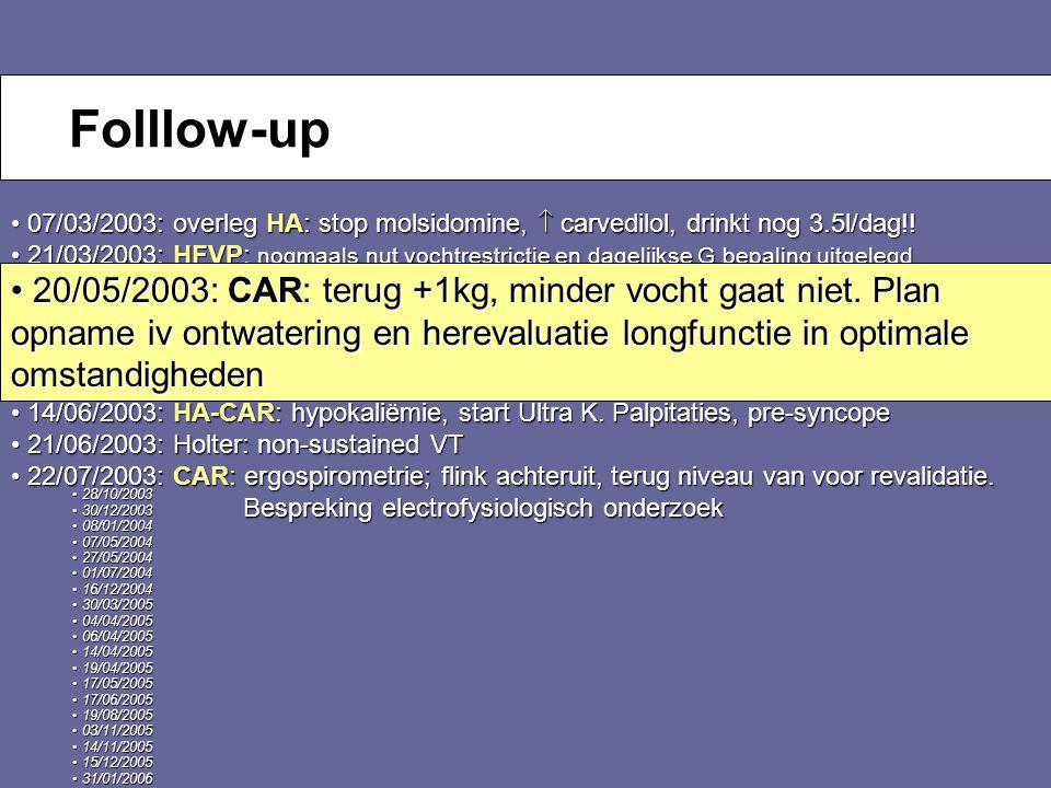29 September 2007 Huisartsensymposium (Voorlopig) Alternatief: 1.Teaching 2.Cardiale revalidatie: 6 maanden, 3/week, 1uur Geen opnames Geen opnames VO