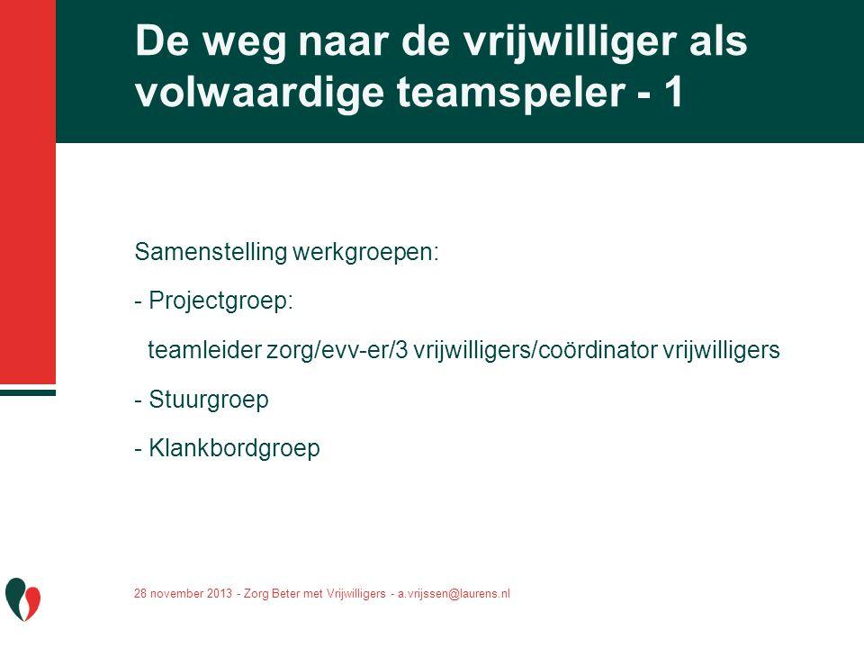 Samenstelling werkgroepen: - Projectgroep: teamleider zorg/evv-er/3 vrijwilligers/coördinator vrijwilligers - Stuurgroep - Klankbordgroep De weg naar
