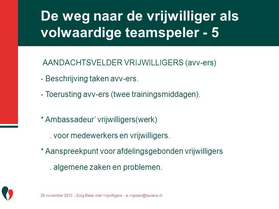 AANDACHTSVELDER VRIJWILLIGERS (avv-ers) - Beschrijving taken avv-ers. - Toerusting avv-ers (twee trainingsmiddagen). * Ambassadeur' vrijwilligers(werk