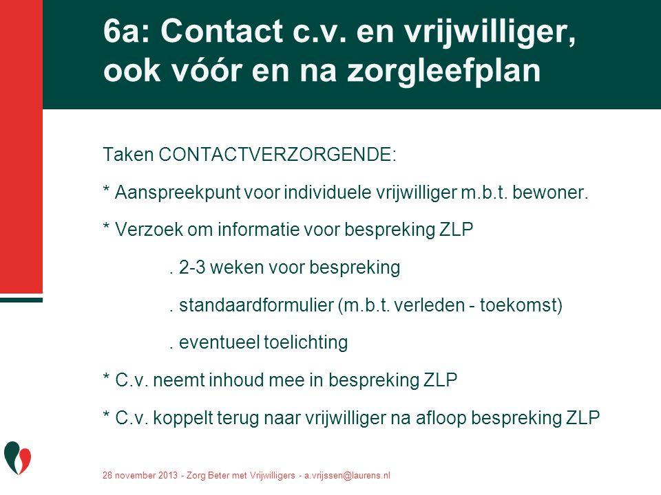 6a: Contact c.v. en vrijwilliger, ook vóór en na zorgleefplan Taken CONTACTVERZORGENDE: * Aanspreekpunt voor individuele vrijwilliger m.b.t. bewoner.