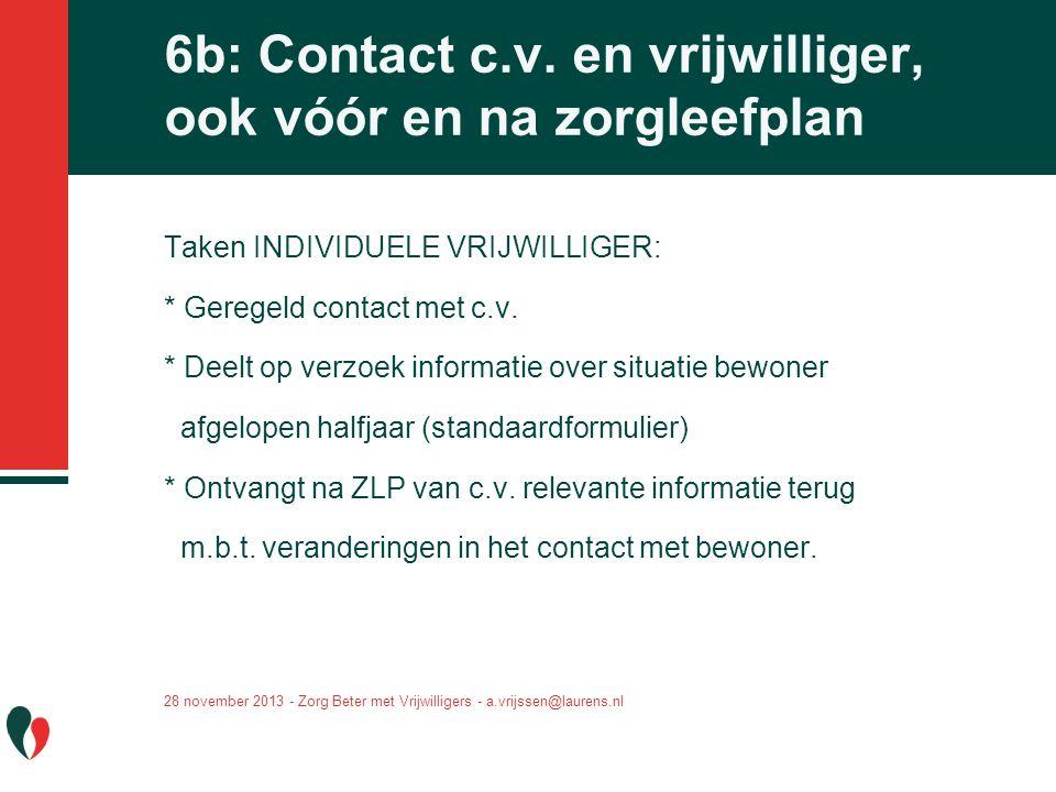 6b: Contact c.v. en vrijwilliger, ook vóór en na zorgleefplan Taken INDIVIDUELE VRIJWILLIGER: * Geregeld contact met c.v. * Deelt op verzoek informati