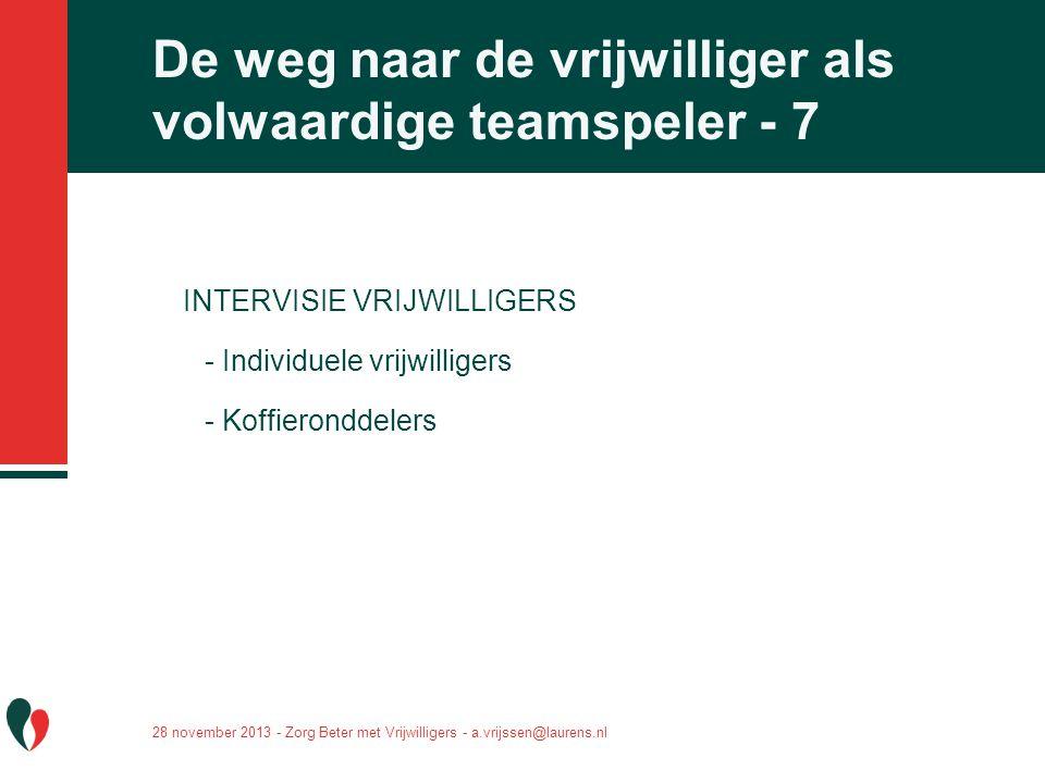 De weg naar de vrijwilliger als volwaardige teamspeler - 7 INTERVISIE VRIJWILLIGERS - Individuele vrijwilligers - Koffieronddelers