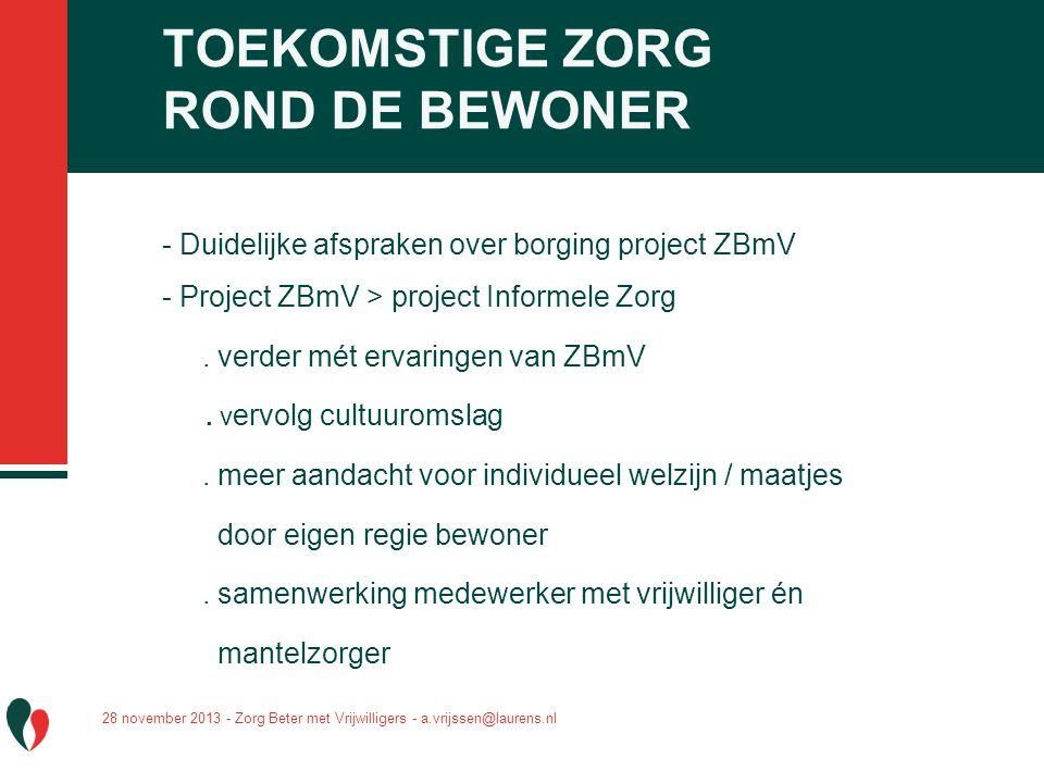 - Duidelijke afspraken over borging project ZBmV - Project ZBmV > project Informele Zorg. verder mét ervaringen van ZBmV. v ervolg cultuuromslag. meer