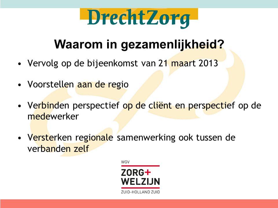 Vervolg op de bijeenkomst van 21 maart 2013 Voorstellen aan de regio Verbinden perspectief op de cliënt en perspectief op de medewerker Versterken reg