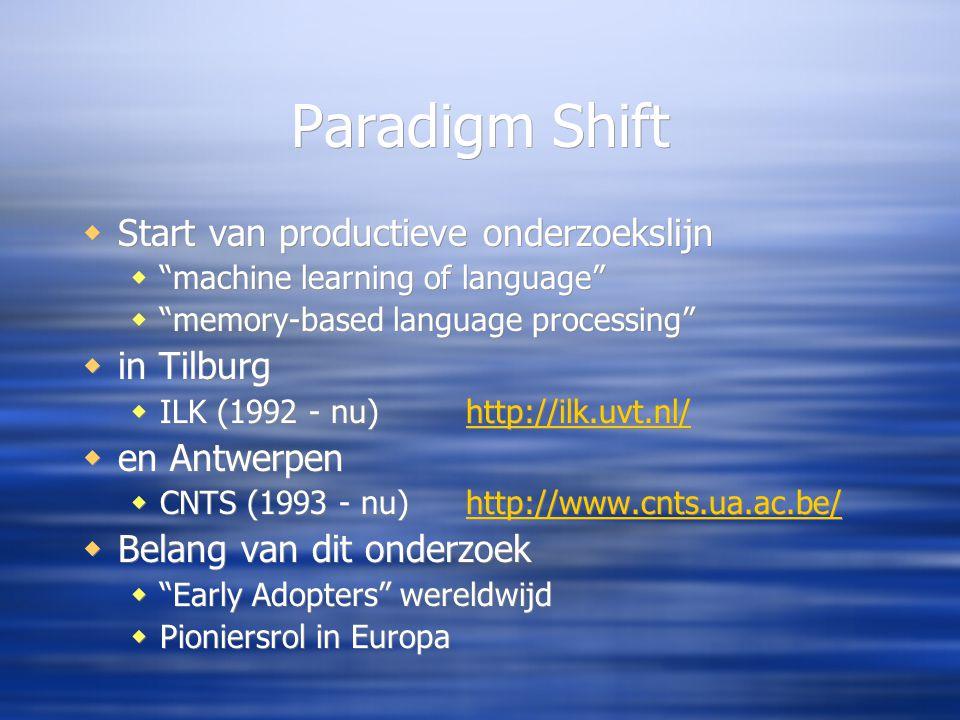 Paradigm Shift  Start van productieve onderzoekslijn  machine learning of language  memory-based language processing  in Tilburg  ILK (1992 - nu)http://ilk.uvt.nl/http://ilk.uvt.nl/  en Antwerpen  CNTS (1993 - nu)http://www.cnts.ua.ac.be/http://www.cnts.ua.ac.be/  Belang van dit onderzoek  Early Adopters wereldwijd  Pioniersrol in Europa  Start van productieve onderzoekslijn  machine learning of language  memory-based language processing  in Tilburg  ILK (1992 - nu)http://ilk.uvt.nl/http://ilk.uvt.nl/  en Antwerpen  CNTS (1993 - nu)http://www.cnts.ua.ac.be/http://www.cnts.ua.ac.be/  Belang van dit onderzoek  Early Adopters wereldwijd  Pioniersrol in Europa
