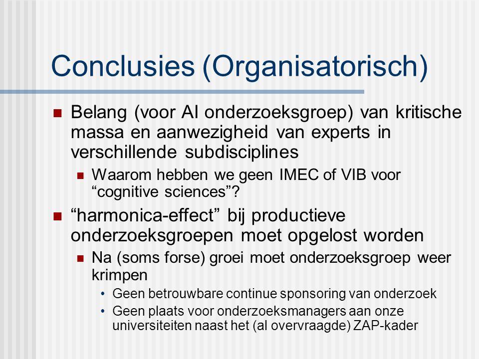 Conclusies (Organisatorisch) Belang (voor AI onderzoeksgroep) van kritische massa en aanwezigheid van experts in verschillende subdisciplines Waarom hebben we geen IMEC of VIB voor cognitive sciences .