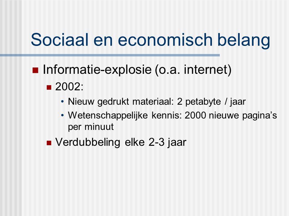 Sociaal en economisch belang Informatie-explosie (o.a.