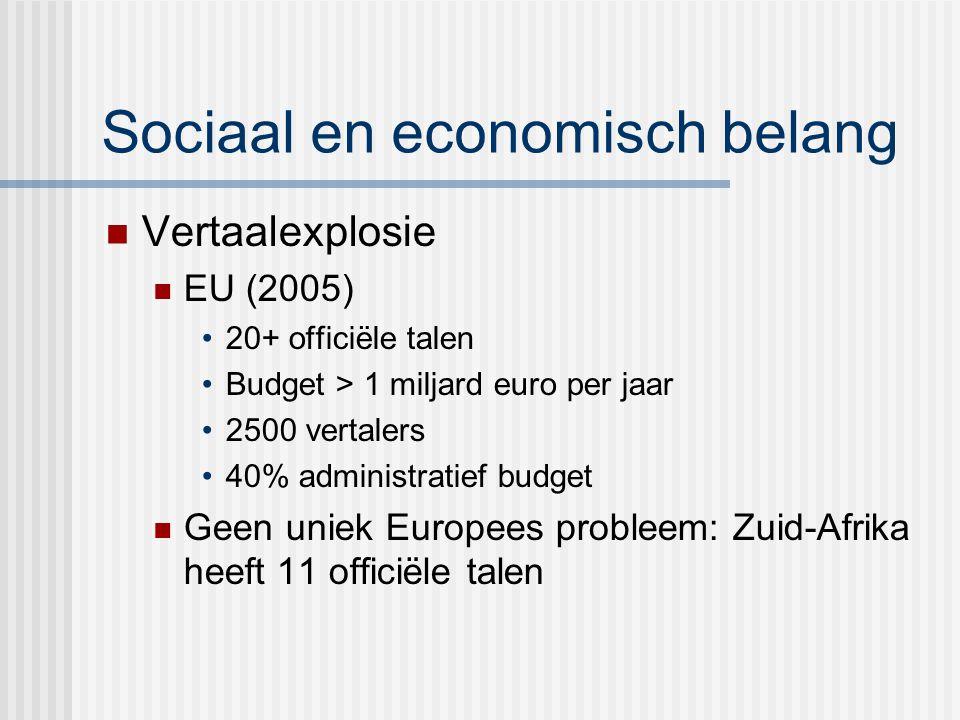Sociaal en economisch belang Vertaalexplosie EU (2005) 20+ officiële talen Budget > 1 miljard euro per jaar 2500 vertalers 40% administratief budget Geen uniek Europees probleem: Zuid-Afrika heeft 11 officiële talen