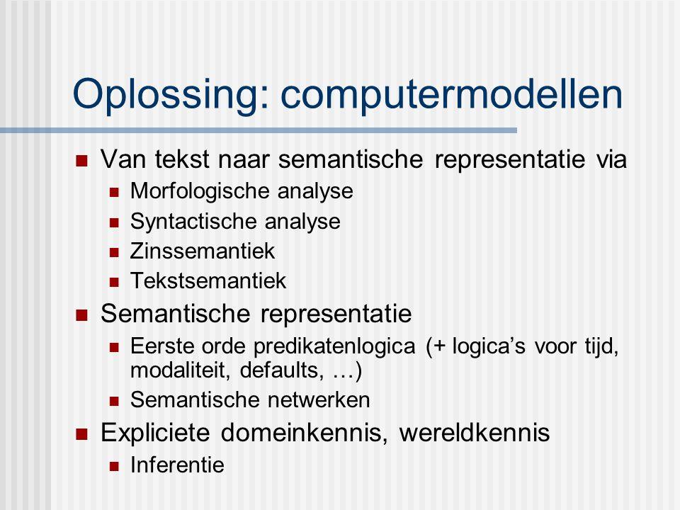 Oplossing: computermodellen Van tekst naar semantische representatie via Morfologische analyse Syntactische analyse Zinssemantiek Tekstsemantiek Semantische representatie Eerste orde predikatenlogica (+ logica's voor tijd, modaliteit, defaults, …) Semantische netwerken Expliciete domeinkennis, wereldkennis Inferentie