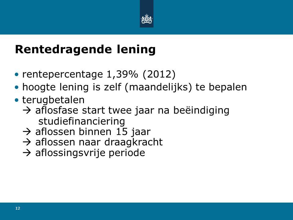 12 Rentedragende lening rentepercentage 1,39% (2012) hoogte lening is zelf (maandelijks) te bepalen terugbetalen  aflosfase start twee jaar na beëindiging studiefinanciering  aflossen binnen 15 jaar  aflossen naar draagkracht  aflossingsvrije periode