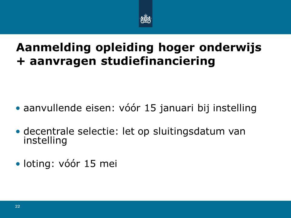 22 Aanmelding opleiding hoger onderwijs + aanvragen studiefinanciering aanvullende eisen: vóór 15 januari bij instelling decentrale selectie: let op sluitingsdatum van instelling loting: vóór 15 mei