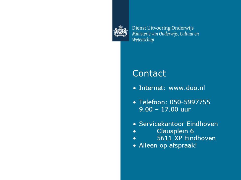 Contact Internet: www.duo.nl Telefoon: 050-5997755 9.00 – 17.00 uur Servicekantoor Eindhoven Clausplein 6 5611 XP Eindhoven Alleen op afspraak!