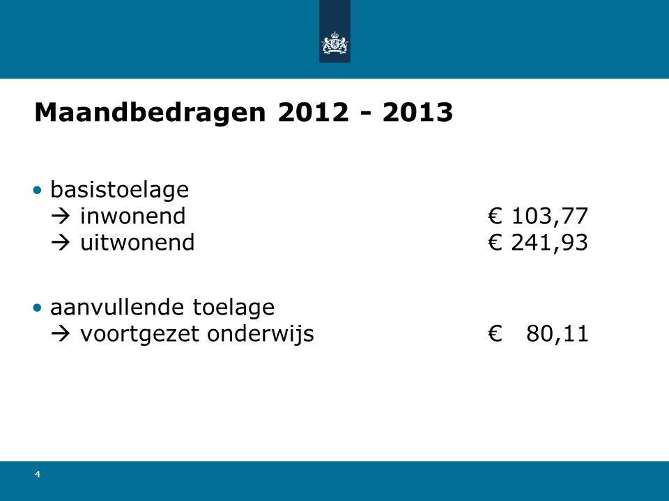 4 Maandbedragen 2012 - 2013 basistoelage  inwonend€ 103,77  uitwonend€ 241,93 aanvullende toelage  voortgezet onderwijs€ 80,11