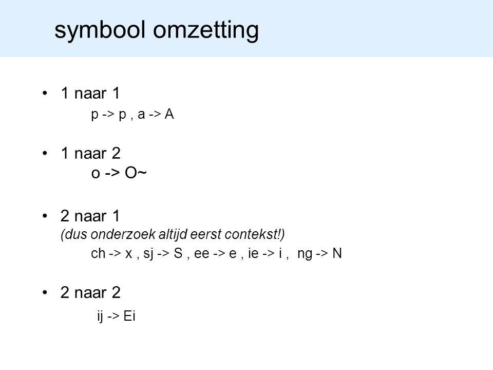 symbool omzetting 1 naar 1 p -> p, a -> A 1 naar 2 o -> O~ 2 naar 1 (dus onderzoek altijd eerst contekst!) ch -> x, sj -> S, ee -> e, ie -> i, ng -> N