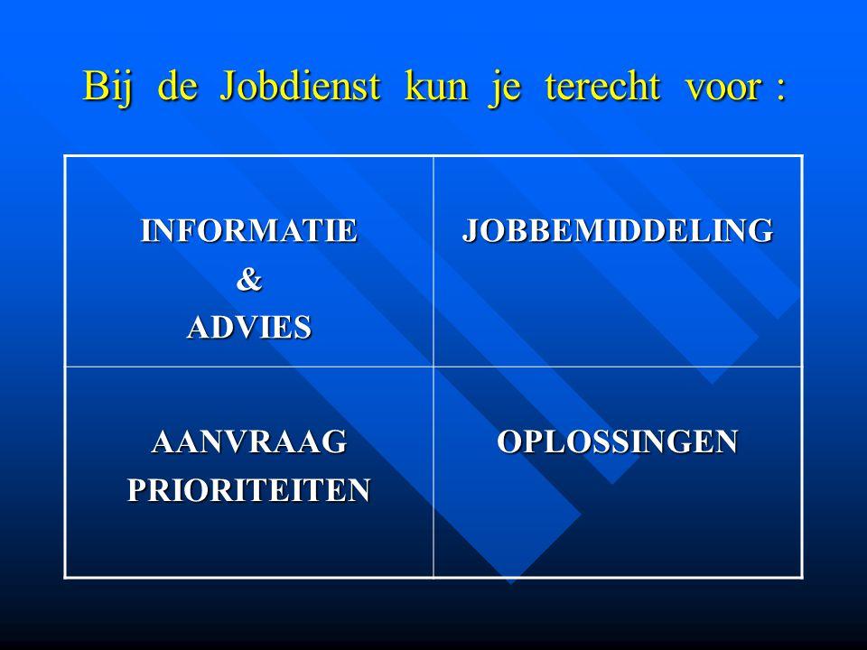 Bij de Jobdienst kun je terecht voor : INFORMATIE&ADVIESJOBBEMIDDELING AANVRAAGPRIORITEITENOPLOSSINGEN