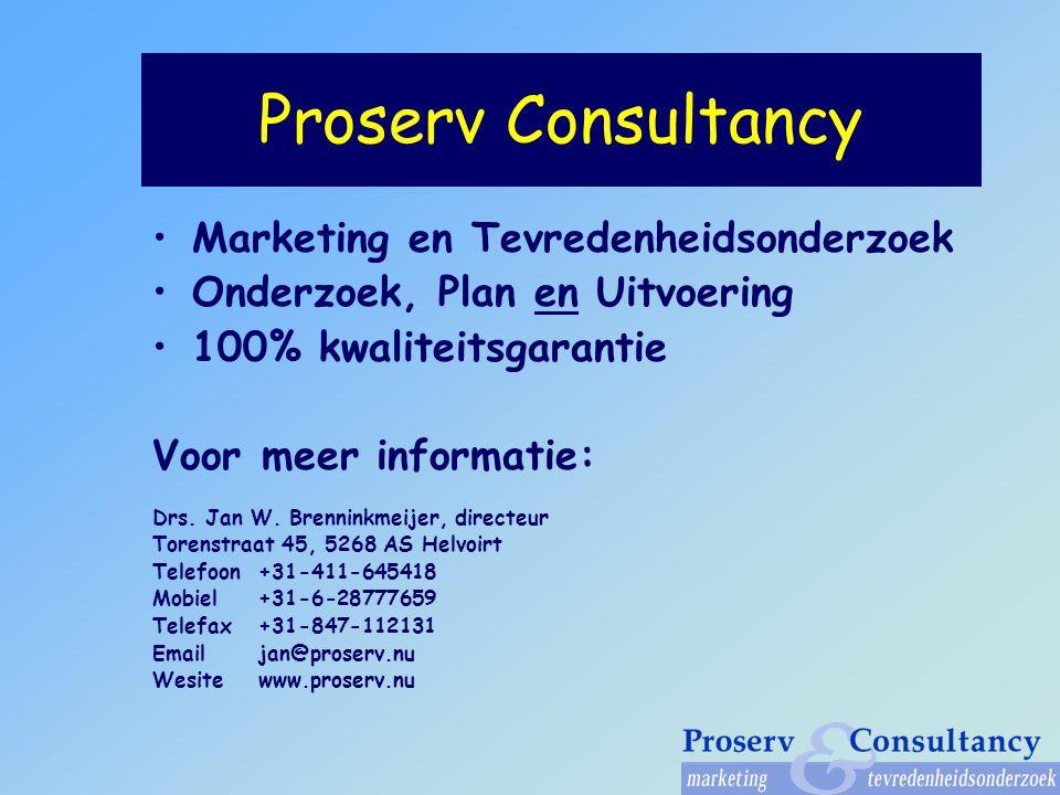Proserv Consultancy Marketing en Tevredenheidsonderzoek Onderzoek, Plan en Uitvoering 100% kwaliteitsgarantie Voor meer informatie: Drs.