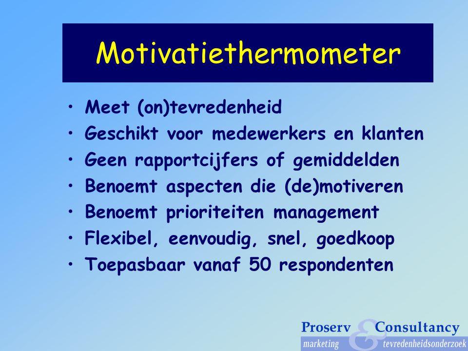 Motivatiethermometer Meet (on)tevredenheid Geschikt voor medewerkers en klanten Geen rapportcijfers of gemiddelden Benoemt aspecten die (de)motiveren Benoemt prioriteiten management Flexibel, eenvoudig, snel, goedkoop Toepasbaar vanaf 50 respondenten