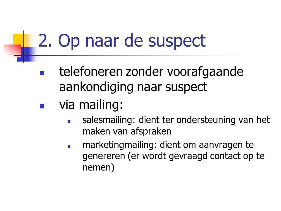 2. Op naar de suspect telefoneren zonder voorafgaande aankondiging naar suspect via mailing: salesmailing: dient ter ondersteuning van het maken van a