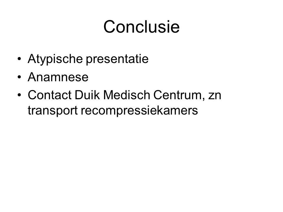 Conclusie Atypische presentatie Anamnese Contact Duik Medisch Centrum, zn transport recompressiekamers