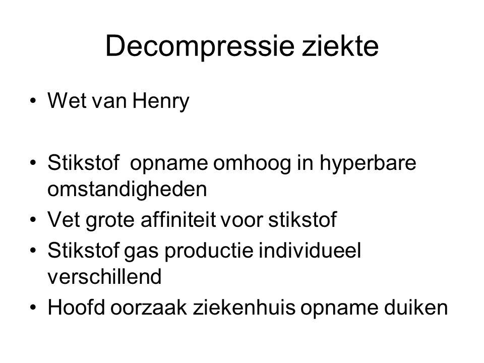 Decompressie ziekte Wet van Henry Stikstof opname omhoog in hyperbare omstandigheden Vet grote affiniteit voor stikstof Stikstof gas productie individueel verschillend Hoofd oorzaak ziekenhuis opname duiken