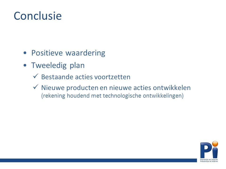 Conclusie Positieve waardering Tweeledig plan Bestaande acties voortzetten Nieuwe producten en nieuwe acties ontwikkelen (rekening houdend met technologische ontwikkelingen)