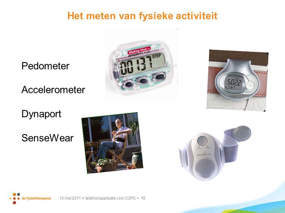 13 mei 2011 telefoonapplicatie voor COPD 18 Het meten van fysieke activiteit Pedometer Accelerometer Dynaport SenseWear