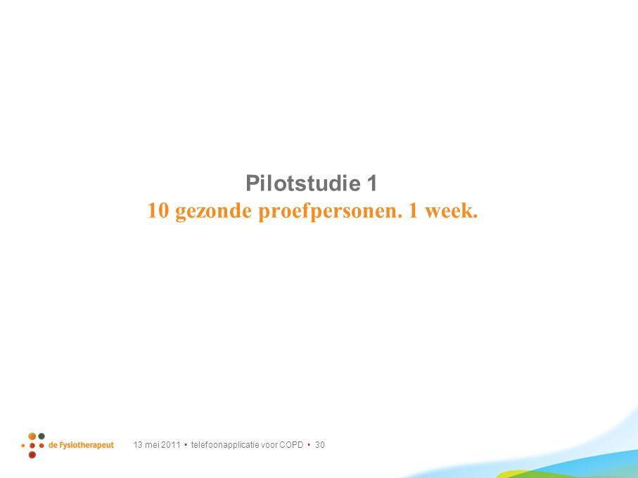 13 mei 2011 telefoonapplicatie voor COPD 30 Pilotstudie 1 10 gezonde proefpersonen. 1 week.