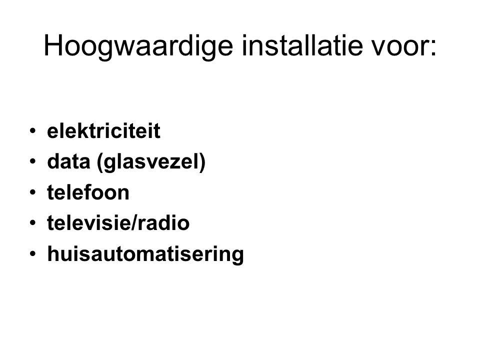 Hoogwaardige installatie voor: elektriciteit data (glasvezel) telefoon televisie/radio huisautomatisering