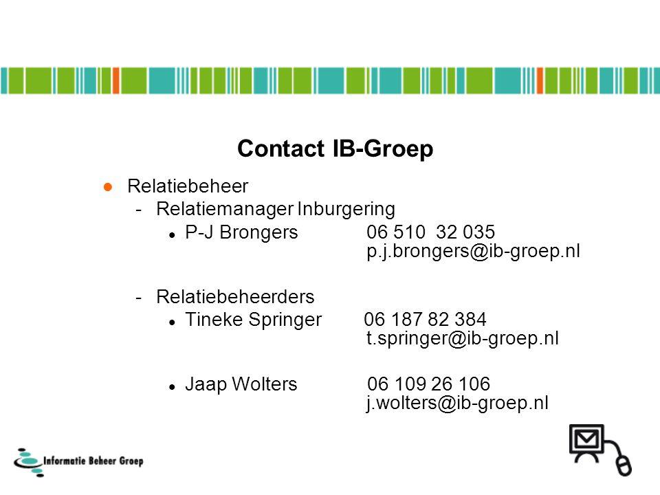 Contact IB-Groep Relatiebeheer -Relatiemanager Inburgering P-J Brongers 06 510 32 035 p.j.brongers@ib-groep.nl -Relatiebeheerders Tineke Springer 06 1