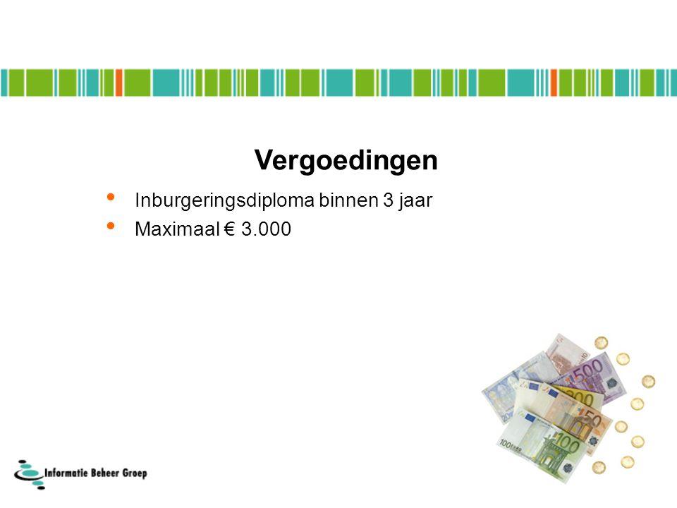 Inburgeringsdiploma binnen 3 jaar Maximaal € 3.000 Vergoedingen