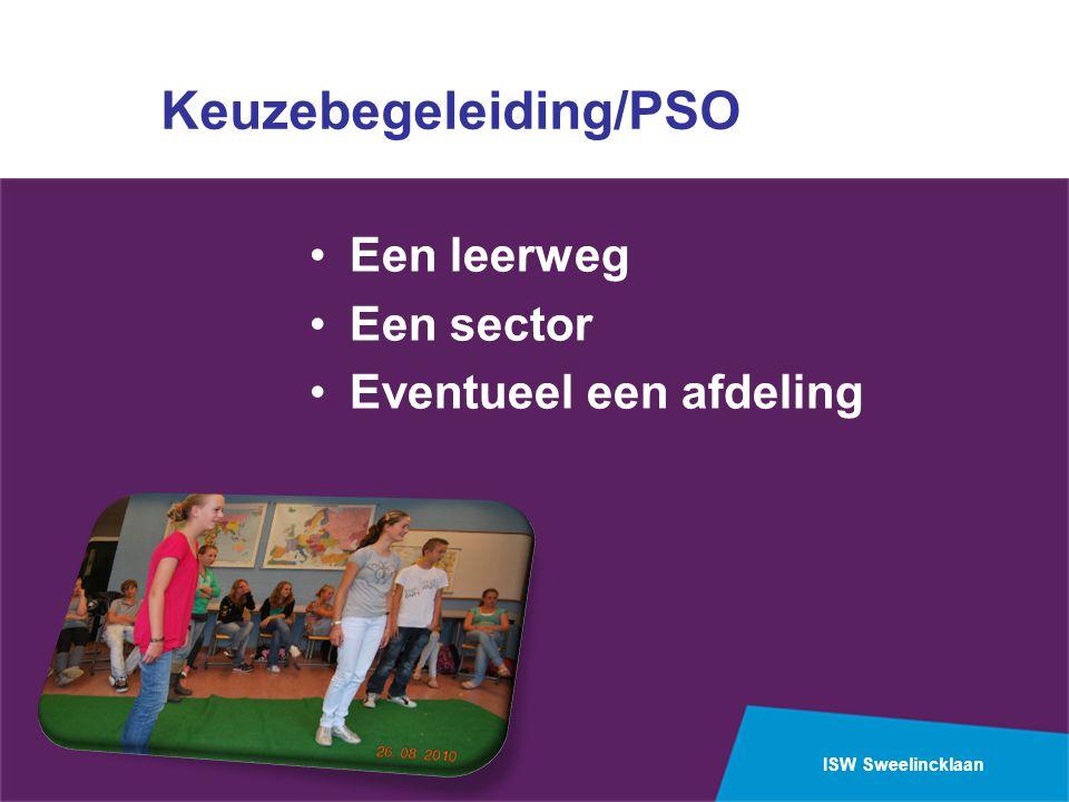 ISW Sweelincklaan Keuzebegeleiding/PSO Een leerweg Een sector Eventueel een afdeling