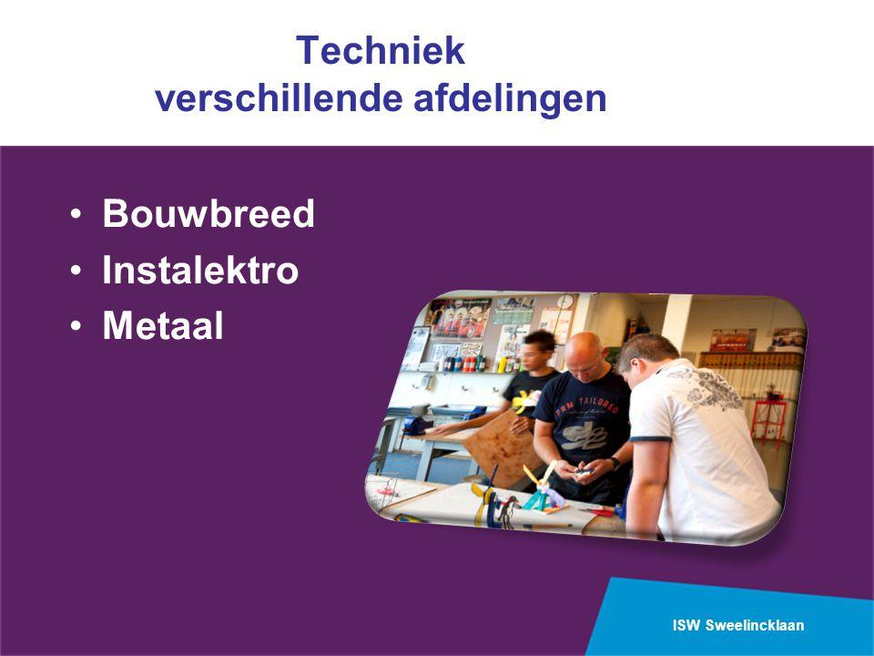 ISW Sweelincklaan Techniek verschillende afdelingen Bouwbreed Instalektro Metaal