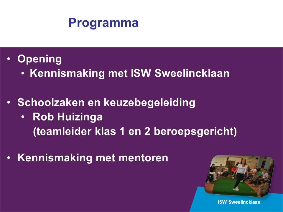 ISW Sweelincklaan Programma Opening Kennismaking met ISW Sweelincklaan Schoolzaken en keuzebegeleiding Rob Huizinga (teamleider klas 1 en 2 beroepsgericht) Kennismaking met mentoren