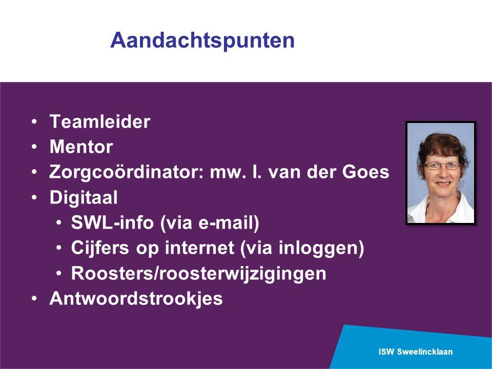 ISW Sweelincklaan Aandachtspunten Teamleider Mentor Zorgcoördinator: mw.