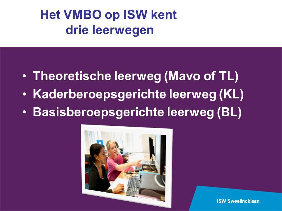 ISW Sweelincklaan Het VMBO op ISW kent drie leerwegen Theoretische leerweg (Mavo of TL) Kaderberoepsgerichte leerweg (KL) Basisberoepsgerichte leerweg (BL)