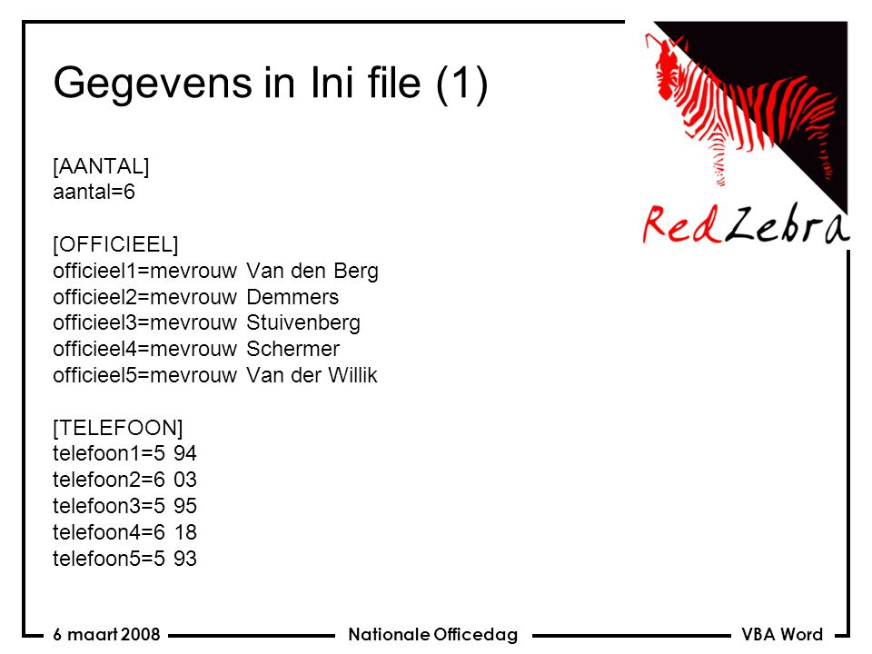 VBA Word Nationale Officedag6 maart 2008 Lettertype instellen Private Sub App_NewDocument(ByVal Doc As Document) Private Sub App_DocumentChange() ActiveDocument.Styles(wdStyleNormal).Font.Name = Comic Sans MS End Sub