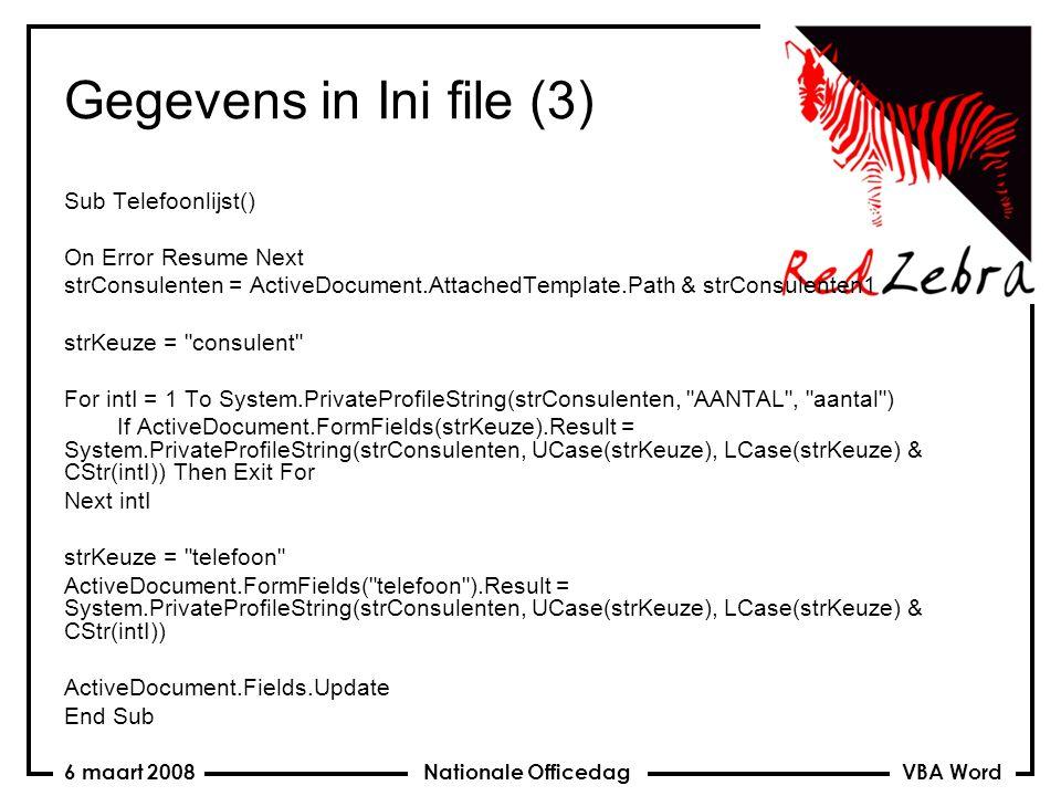 VBA Word Nationale Officedag6 maart 2008 Beveiliging sjablonen Public Const PASWOORD As String = Lynx Sub BeveiligenDocument() ActiveDocument.Protect wdAllowOnlyFormFields, True, PASWOORD End Sub Sub BeveiligingErAf() ActiveDocument.Unprotect PASWOORD End Sub