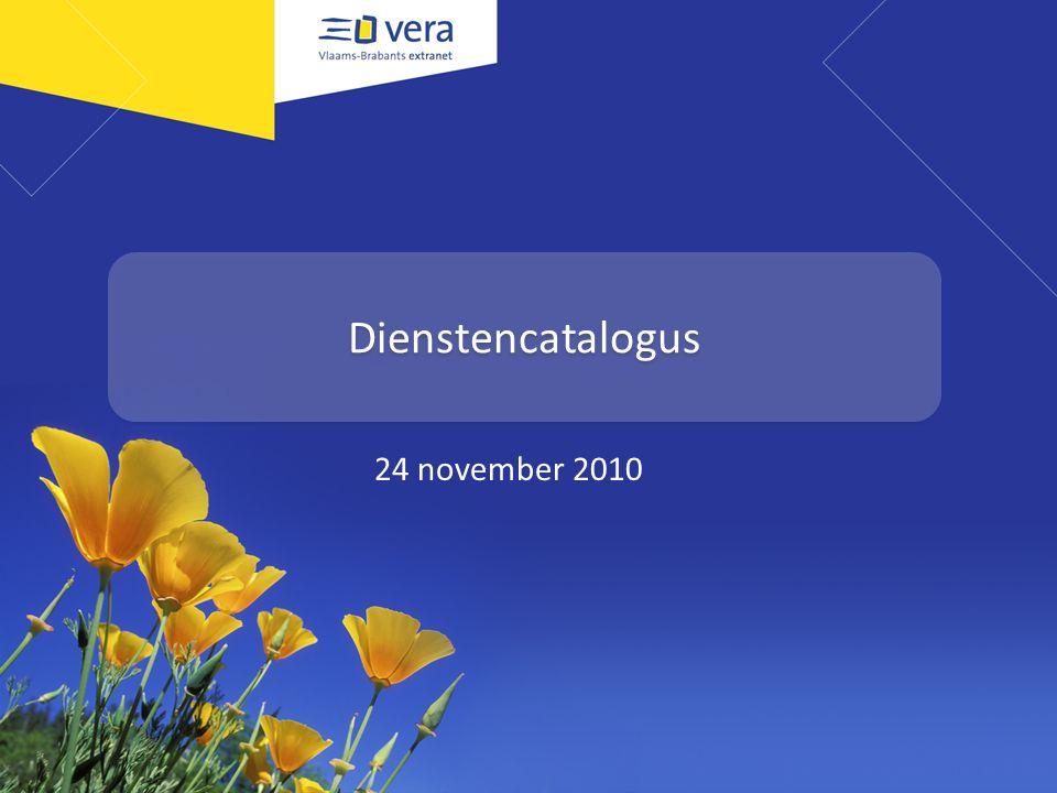 Programma Wat is een productencatalogus Alle componenten op een rij – De generieke informatie – De specifieke informatie – De informatie over de dienstverlener – De interne informatie – De publicatie-mogelijkheden – Interactie mogelijkheden De VERA-portaal Interbestuurlijke producten- en dienstencatalogus Voorwaarden om er zelf aan te beginnen