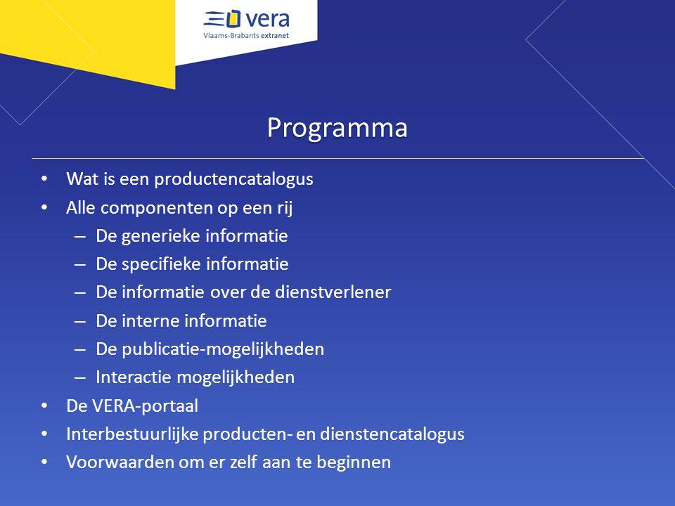 Programma Wat is een productencatalogus Alle componenten op een rij – De generieke informatie – De specifieke informatie – De informatie over de diens