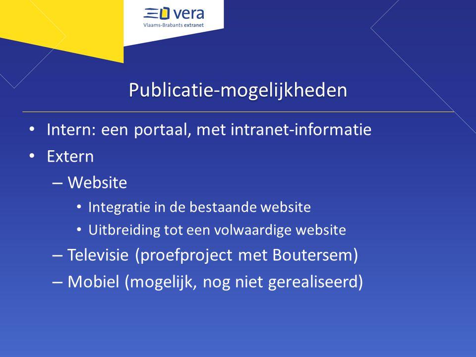 Publicatie-mogelijkheden Intern: een portaal, met intranet-informatie Extern – Website Integratie in de bestaande website Uitbreiding tot een volwaard